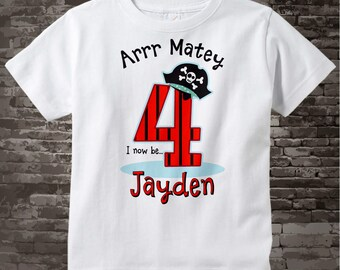 Pirate Birthday shirt - Four Year Old's Pirate Birthday Shirt - Personalized Pirate Birthday Shirt - Your Child's Name and Age 01052016b
