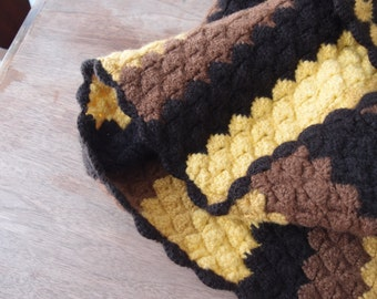 Vintage Afghan Blanket Crocheted Shells Stripes Wool Felted Heavy Thick Southwestern Decor Maize Yellow Mustard Brown