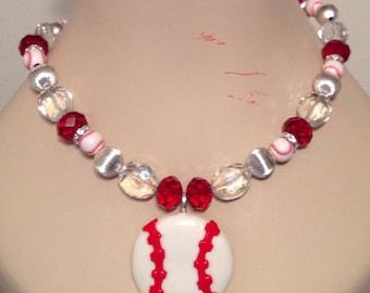 Clay Baseball Pendant on Team Spirit Beads