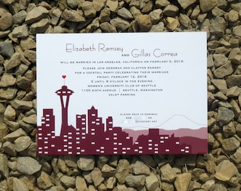 Seattle Wedding Invitation Set - Marsala - Wedding Invitation - Custom Skyline