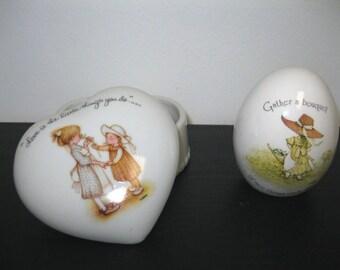 Vintage Holly Hobbie Porcelain Collectors Egg and Trinket Ring Dish