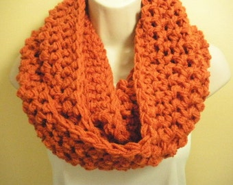 Pumpkin Orange Cowl Infinity Circle Scarf Neckwarmer