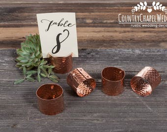 Copper Table Number Holder ~ Wedding Table Number ~ Guest Place Card Holder ~ Copper Placecard Holder ~ Copper Wedding ~ Card Holder
