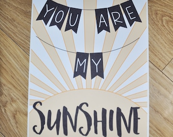 You Are My Sunshine, Wall Art, My Only Sunshine Quote, Yellow Wall Decor, Nursery Wall Art, Sunshine Wall Art, Typography, You Make Me Happy