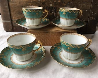Antique Theodore Haviland Limoges Demitasse Cups and Saucers / 1895 / Ornate Gold and Teal