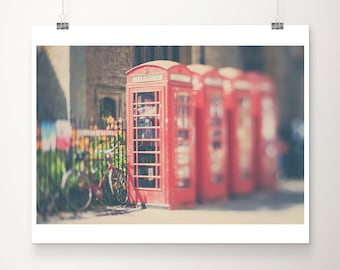 red telephone box photograph red bicycle photograph Cambridge photograph red telephone box print red bicycle print Cambridge print