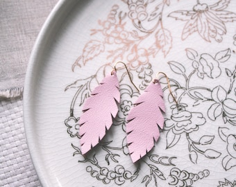 Blush Pink Leather Feather Earrings