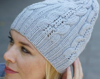 Hand knit women hat - lime women hat urban wool hat mustard hat
