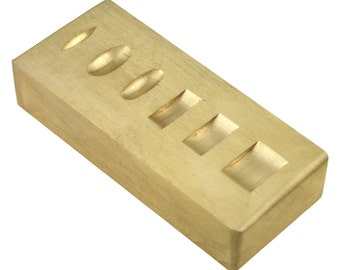 Double Sided Brass Ring Stamping Block 3 X 1 1/4 inch - 55-420