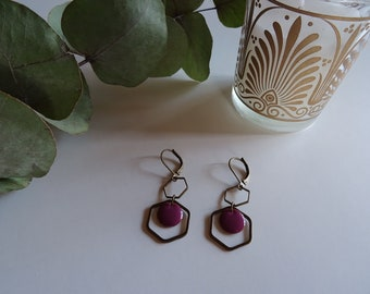 Brass and purple enamel earrings