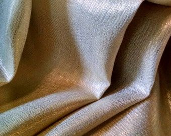 Gold Curtains: Pair of 100% Linen With Metallic Gold Curtain Panels