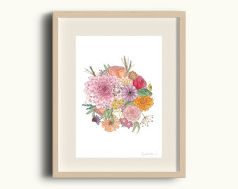 Floral Bunch Art Print - Pretty Flower Bouquet Art Home Decor