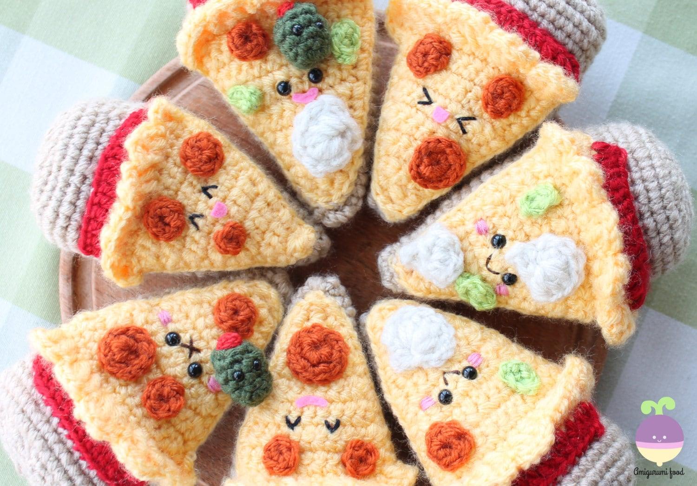 Amigurumi Food : Crochet pattern amigurumi food combo pizza night beer