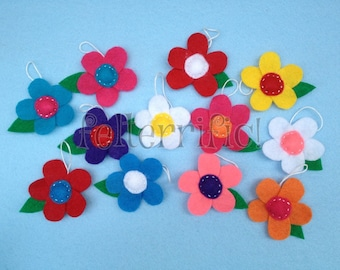 1 Dozen Handmade Felt Mini Flower Ornaments