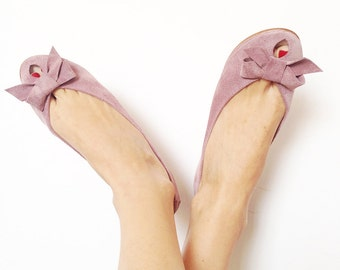 Ballet Flats Shoes. Women Shoes. Leather Shoes. Handmade Peep Toe. Blush Shoes. Rose Smoke Shoes. Bridal Shoes with Bow. Rose Wedding Flat