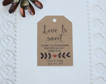 Rustic Love Is Sweet Tag - Wedding Favor Tag - Bridal Shower Tag - Sweet Treat Favor