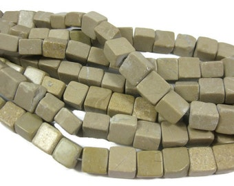 10mm Natural Tan Marble Square Beads
