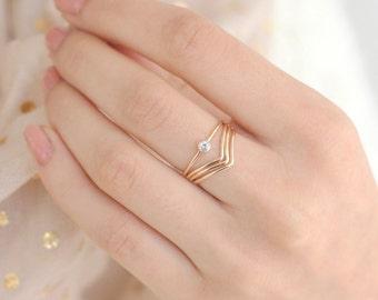 gold ring set of FOUR. chevron diamond ring. gold filled stacking rings. engagement ring wedding ring set. modern geometric gold rings..