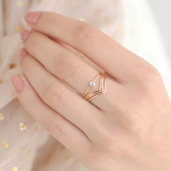 Gold Ring Set Of Four Chevron Diamond Ring Gold Filled
