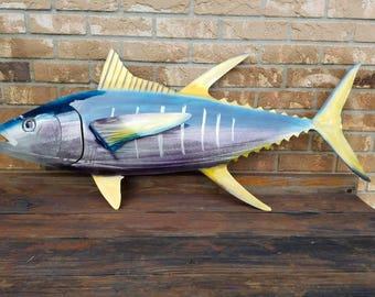 Yellowfin Tuna Wall Art, Aluminum Art, Metal Art, Ocean Decor, Fishing Gift, Christmas Gift for Dad, Ocean Art, Fish Art, Boating, Handmade