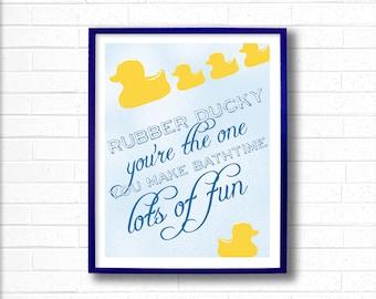 Kids Bathroom Decor - Kids Bathroom Wall Art - Bathroom Duck Art - Rubber Ducky Prints - Yellow Rubber Ducky You're The One - Bath Wall Art