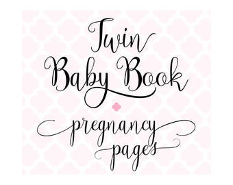 Set of 20 Pregnancy Journal Pages for Charmbooks TWIN Baby Memory Books