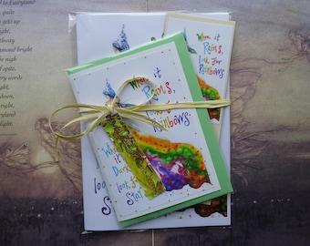 Rainbow Maker Notebook, Handmade Bookmark and Card Gift Set