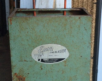 INDUSTRIAL METAL CART sand blaster company wheeled tote, carrier, basket, mid century decor