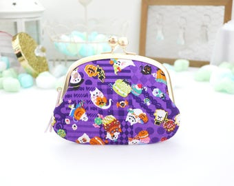 Calico of Halloween ghost cat clasp frame pouch Six layers three wallet