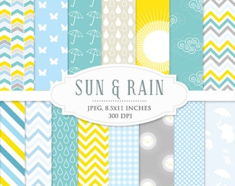 Yellow and blue digital papers - rain April showers weather chevron whimsical polka dots scrapbooking, digital cards, invites commercial use