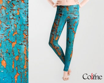 Leggings with Turquoise Chipped paint  Texture Print, Active Wear, Women's Leggings, Yoga Leggings, Workout Leggings,  Yoga Sports pants
