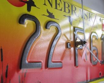 NEBRASKA - License Plate Tag Clock