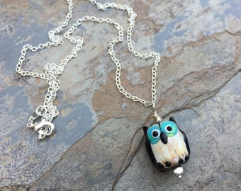 Owl Necklace, Black Owl Necklace on Sterling Silver Chain, 18 or 20 inch