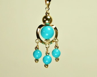 14k solid yellow gold 6 and 4mm round ball natural Arizona turquoise pendant