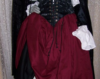 Piratess Renaissance Pirate Gown Dress costume naughty Wench Womens