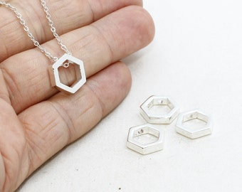 Silver Plated Hexagon Pendant, 10mm initial Pendant, Geometric Charms, Hexagon, Silver Plated Pendant , MTE129