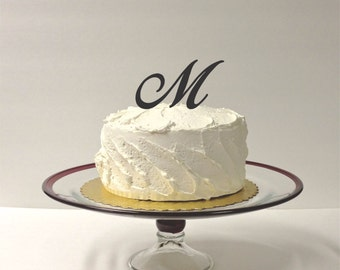 MADE In USA, Letter M - Monogram Wedding Cake Topper Simple Beautiful with Personalized Monogrammed Wedding Cake Topper Custom Cake Topper