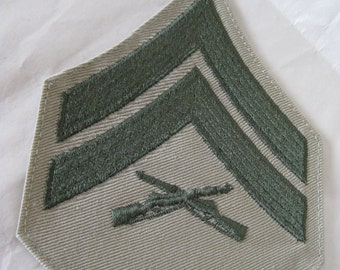 Military Patch US Marine Corps Corporal Green Khaki Vintage