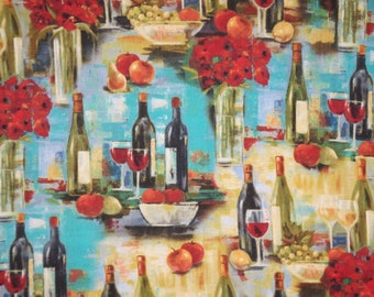 Wine Bottle Afternoon Delight Scenic Print Pure Cotton Fabric--By the Yard