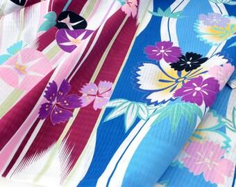 Fabric floral kimono Japanese arrow White x 50cm