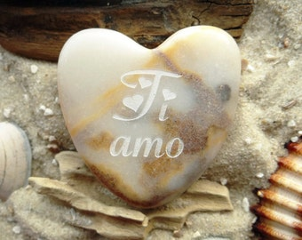 Heart Ti amo Italian I love you single piece-heart-lucky charm-engraving-marble-Unique