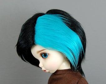 6/7 Black & Blue Faux (Fake) Fur Wig for YoSD / LTF / Unoa Boy and Girl BJDs