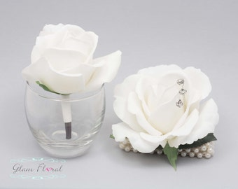 White Rose Wrist Corsage and Boutonniere Set. Real Touch Flowers. Caroline Rose Collection