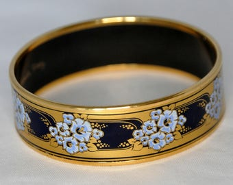 Vintage Michaela Frey Gold Enameled Bracelet with Morning Glory Flowers - Magnificent