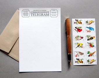 Letter Writing Kit: Telegram, letterpress stationery with envelopes