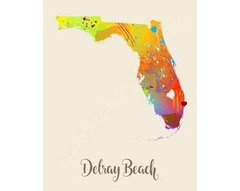 Delray Beach Florida Delray Beach Map Delray Beach Print Delray Beach Poster Delray Beach Art Delray Beach Gift Delray Beach Wall Decor