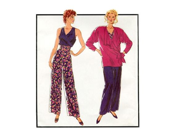 Hohe Taille Hose Muster Surplice Bluse und drapieren