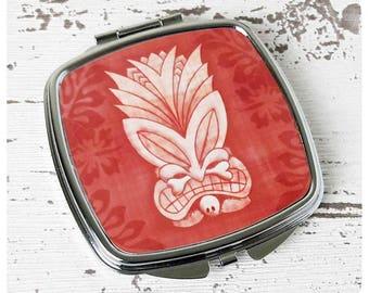 Pink Tiki Compact Mirror - Hawaiian Style Gift - Tiki Accessories - Tiki Gift - Tropical Compact Mirror - Rockabilly Hair Accessories