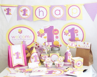 Butterfly 1st birthday Decorations Printable - Butterfly first Birthday Party - Girl First Birthday Decorations - Instant Download - Pink
