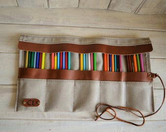 Personalized Pencil Roll, Pen Roll, Pencil Roll Up Case, Pencil Roll Canvas, Artist pouch, Pencil Travel Case